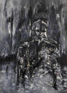 Die vereisten Hände, Öl / Plakatkarton 2020, 95,6 x 67,9 cm