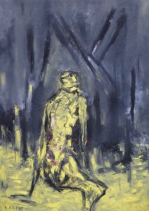 Allein im eigenen Licht, Öl / Plakatkarton 2020, 95,6 x 67,9 cm