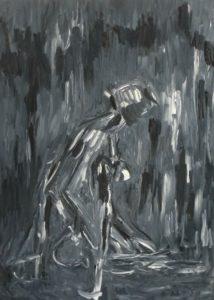 Die Anmutige, Öl / Plakatkarton 2020, 95,6 x 67,9 cm
