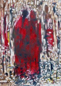 Die milden Flügel, Öl / Plakatkarton 2018, 95,6 x 67,9 cm
