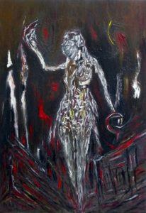 Die Nervenwaage, Öl / Leinwand 2019, 100 x 70 cm