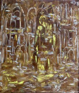 Die Lebensschwere, Öl / Holz 2018, 68,4 x 58,4 cm