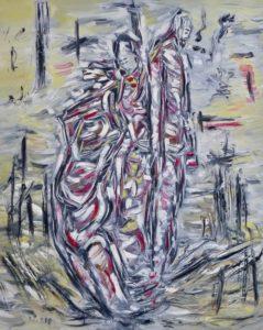 Der Taumel der verteidigten Jahre, Öl / Leinwand 2018, 100 x 80 cm