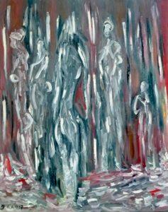 Die Weltenwandler, Öl / Leinwand 2017, 100 x 80 cm