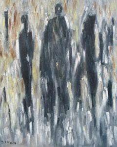 Der Rat der Gesichter, Öl / Leinwand 2017, 100 x 80 cm