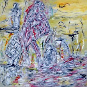 An der Grenze des Menschen, Öl / Leinwand 2016, 100 x 100 cm