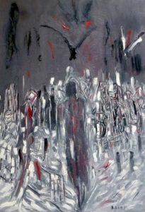 Die Hand des verspäteten Himmels, Öl / Leinwand 2019, 100 x 70 cm