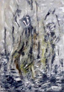 Der Wald wird dein Schatten sein, Öl / Plakatkarton 2019, 95,6 x 67,9 cm